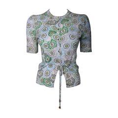 Gucci Floral Print Cashmere Cardigan w/Gold Tone Gucci Logo Buttons & Waist Tie