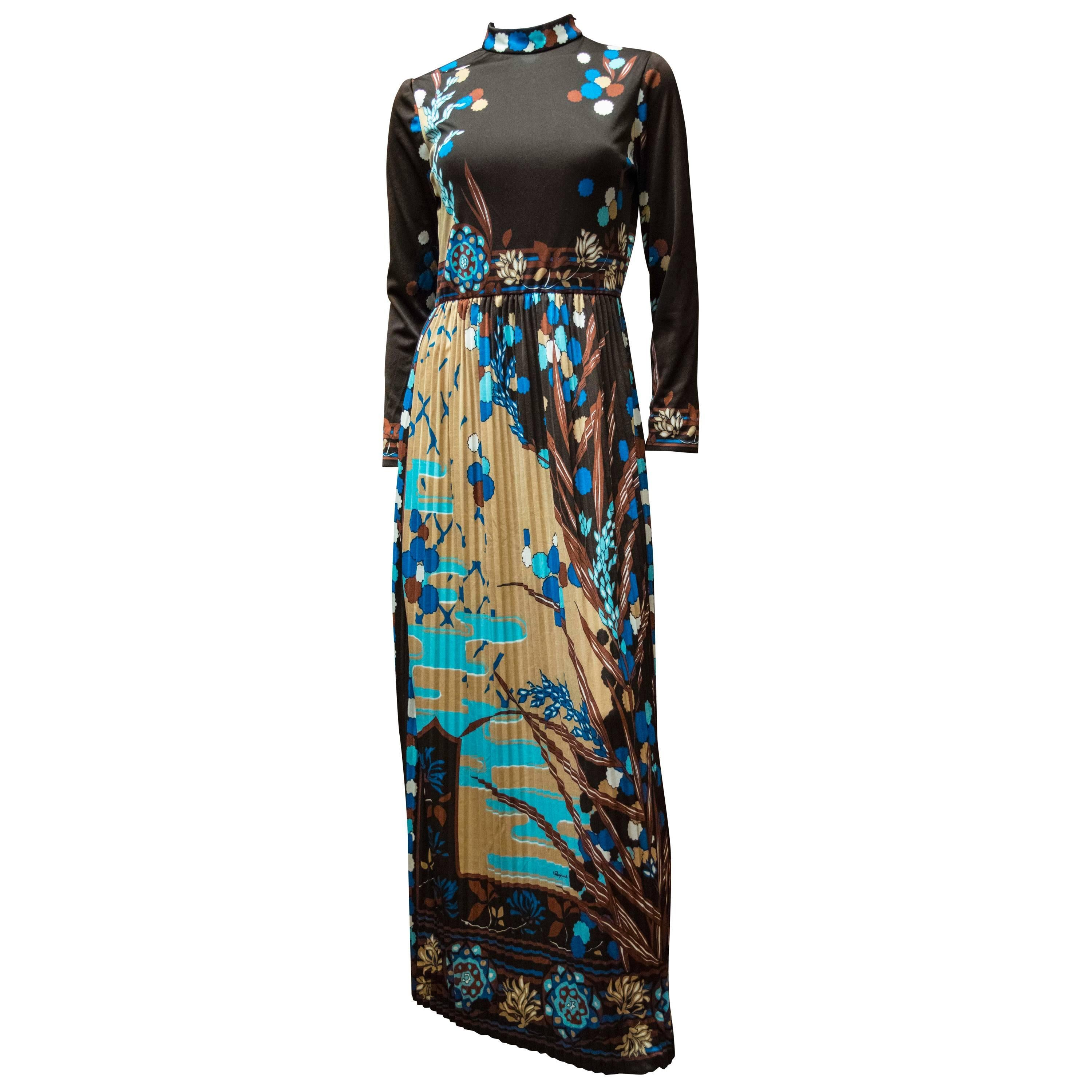 1970's Paganne Floral Pleated Dress