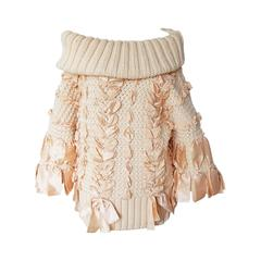 Christian Dior by Galliano Oversized Cable Sweater w/ Ribbons & Bows