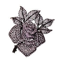 2000s Sonia Rykiel Floral Brooch in Black Metal and Parma Crystals