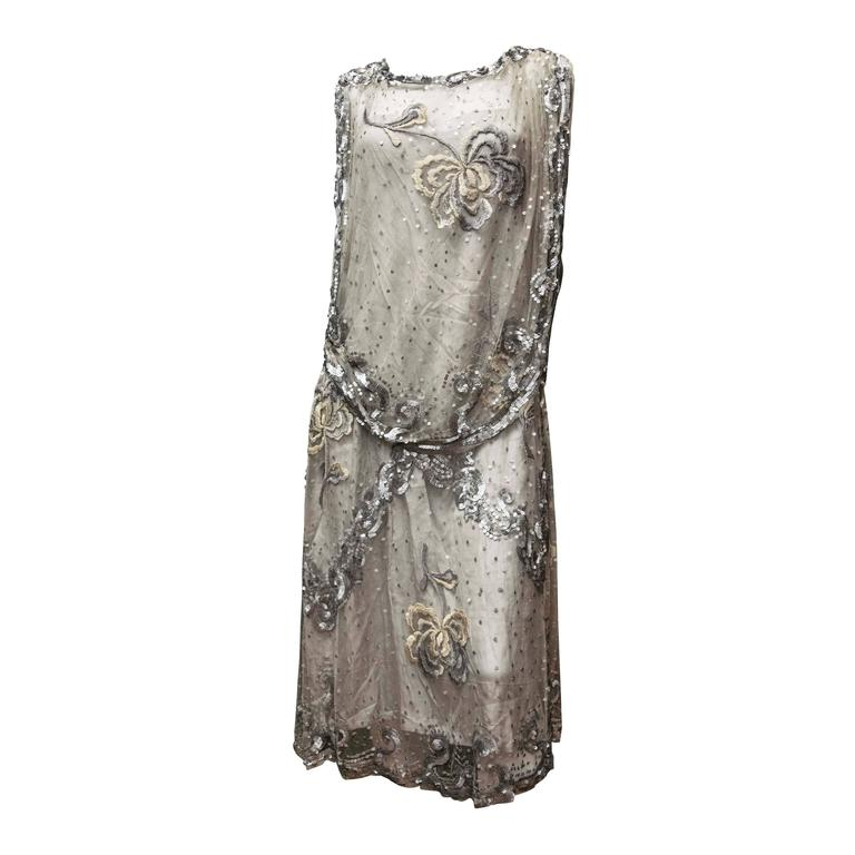 1920s Silver Lace Sequinned Dress For Sale