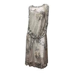 1920s Silver Lace Sequinned Dress