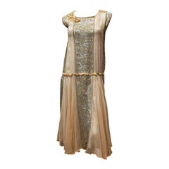 1920s Lace and Silk Georgette Dress