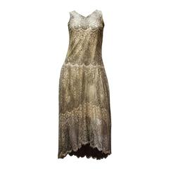 1920s Silver Lamé Lace Dress