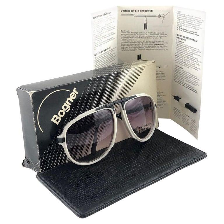 New Vintage Bogner 7003 90 Black & White James Bond Roger Moore 007 Sunglasses For Sale
