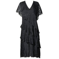 Holly's Harp Vintage Black Silk Tiered Lace Flapper Cocktail Dress