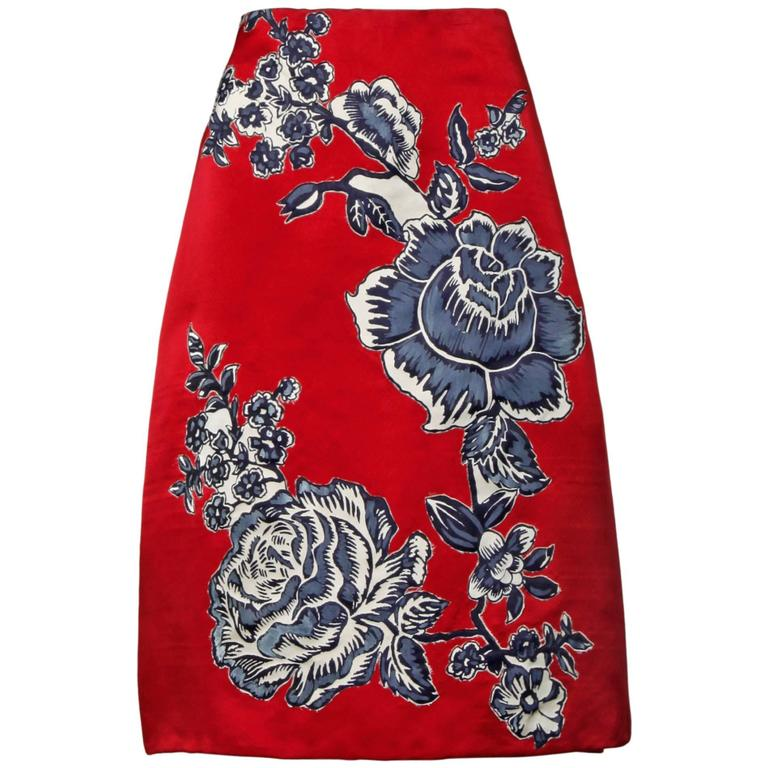 Bill Blass Vintage Red Silk Satin Skirt with Screen Printed Flowers For Sale