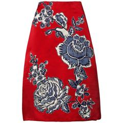 Bill Blass Vintage Red Silk Satin Skirt with Screen Printed Flowers