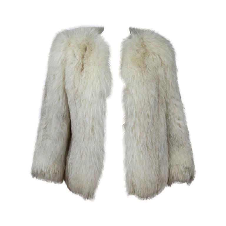 Off White Fox Fur Coat For Sale