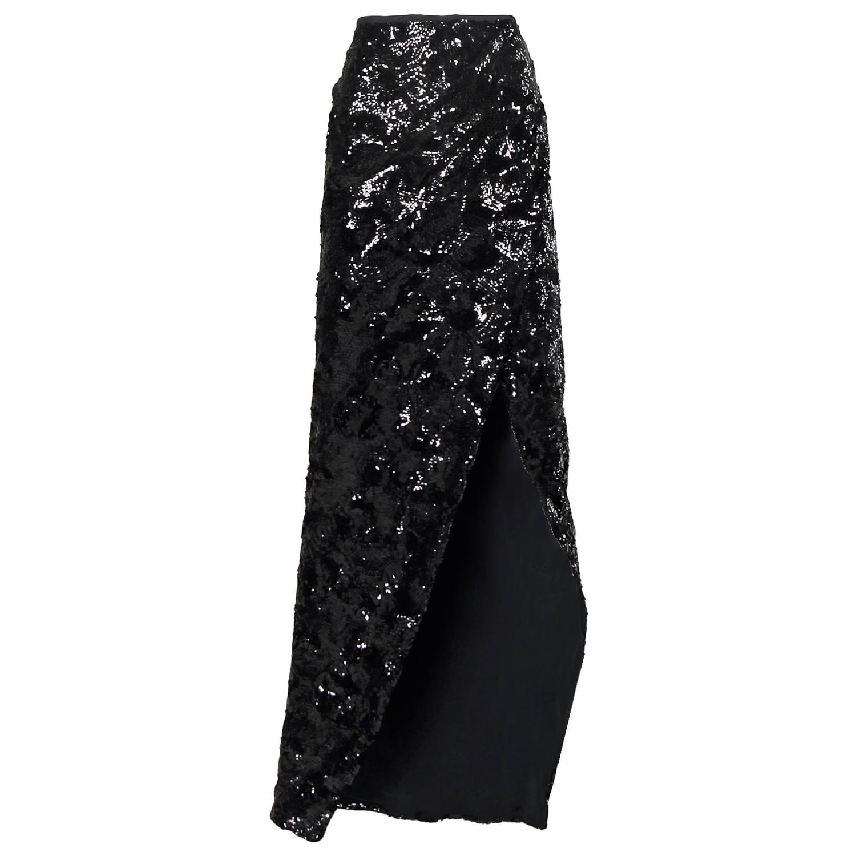 Donna Karan Long Black Sequin Scissor Maxi Skirt with High ...