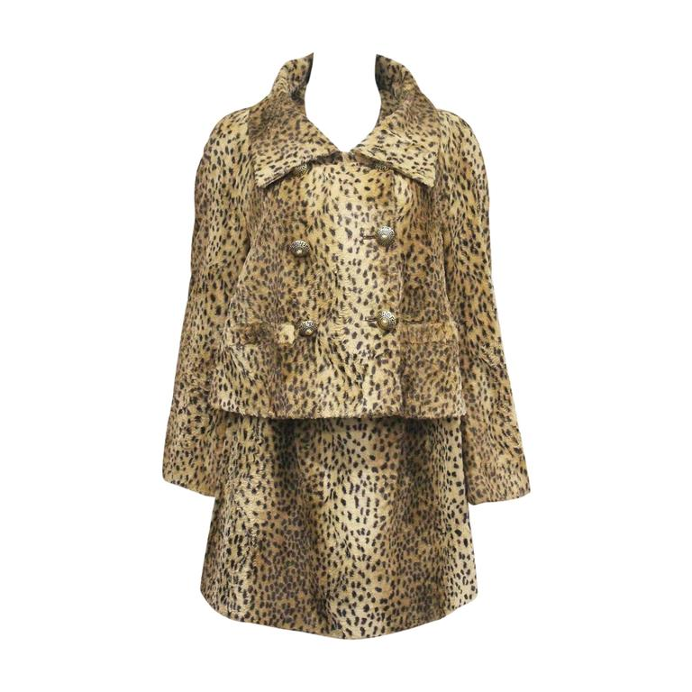 Gianni Versace cheetah print faux fur jacket and dress ensemble, c. 1990s  For Sale