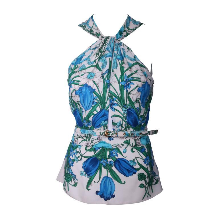 Gucci 100% Silk Floral Print Halter Top w/Keyhole Neckline, Open Back & Belt For Sale