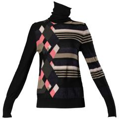 Sonia Rykiel Wool Cashmere Blend Knit Turtle Neck Sweater with Geometric Design