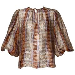 1970s Frances Heffernan Sheer Paper Thin Silk Blouse with Balloon Sleeves