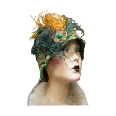 1920s Green Cloche Hat