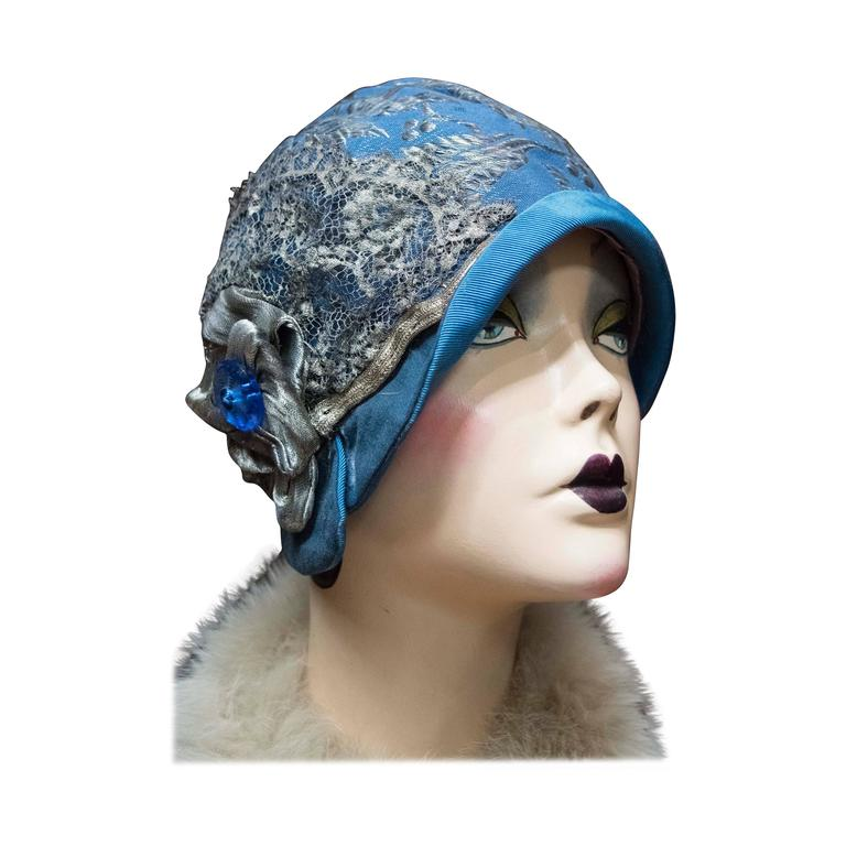 1920s Blue Cloche Hat For Sale