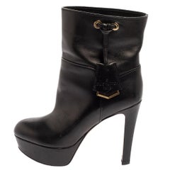 Louis Vuitton Black Leather Platform Ankle Boots Size 36