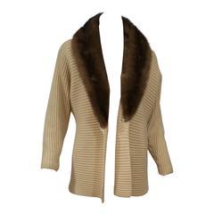 Beige Cashmere Sweater With Brown Mink Fur Collar