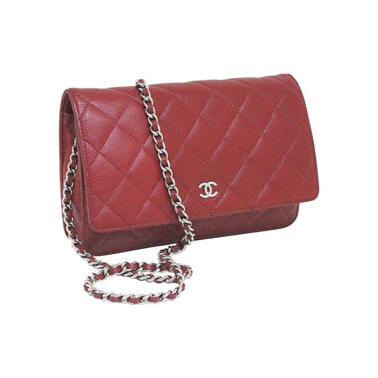 26f5a76f9 Chanel red caviar quilted cross body wallet-on-chain WOC flap bag For Sale