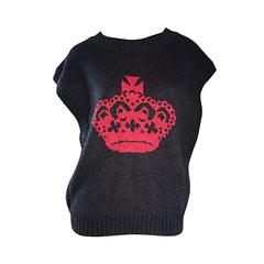 """Rare Vintage Geoffrey Beene """" Beenebag """" Gray Mohair Crown Sweater Jumper Vest"""