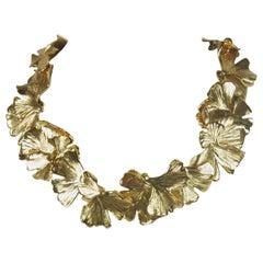 AURELIE BIDERMANN 18KT Gold Plated Ginko Leaves Necklace