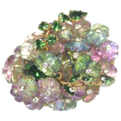 ALICE CAVINESS Floral Motif Brooch with Iridescent Beads and Rhinestones