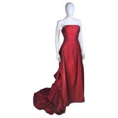 DANIEL JAMES CANTU Burgundy Raw Silk Gown Size 2-4