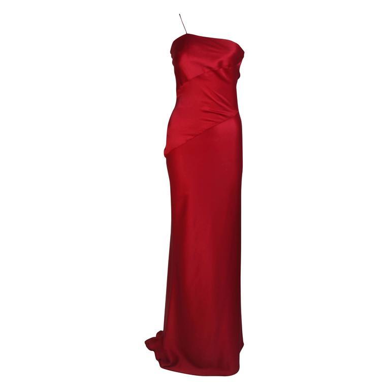 CANTU & CASTILLO Red Silk Bias Cut Asymmetrical Gown Size 2-4 For Sale