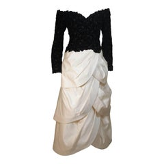 ARNOLD SCAASI Black Velvet Floral Design Gown with Satin Tiered Skirt Size 12-14