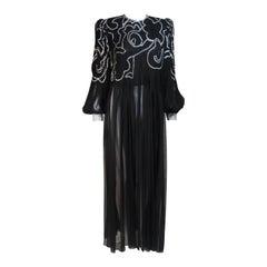 GALANOS Black Silk Chiffon Sheer Gown with Rhinestone Accent Cuffs Size Large