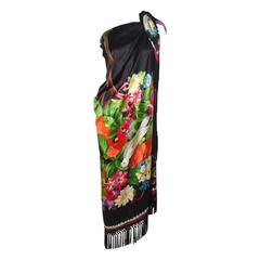 UNGARO Vivid Black Tropical Print Fringe Scarf with Bird Motif XL