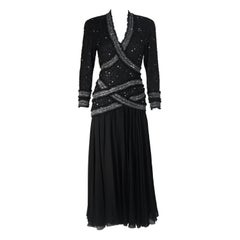 FABRICE NEW YORK COUTURE Black Embellished Chiffon Long Sleeve Gown Size 2