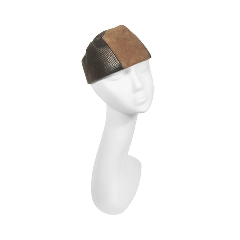 YVES SAINT LAURENT RIVE GAUCHE Suede and Leather Hat with Top Stitch Details