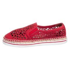 Jimmy Choo Red Laser Cut Nubuck Espadrilles Sneakers Size 38