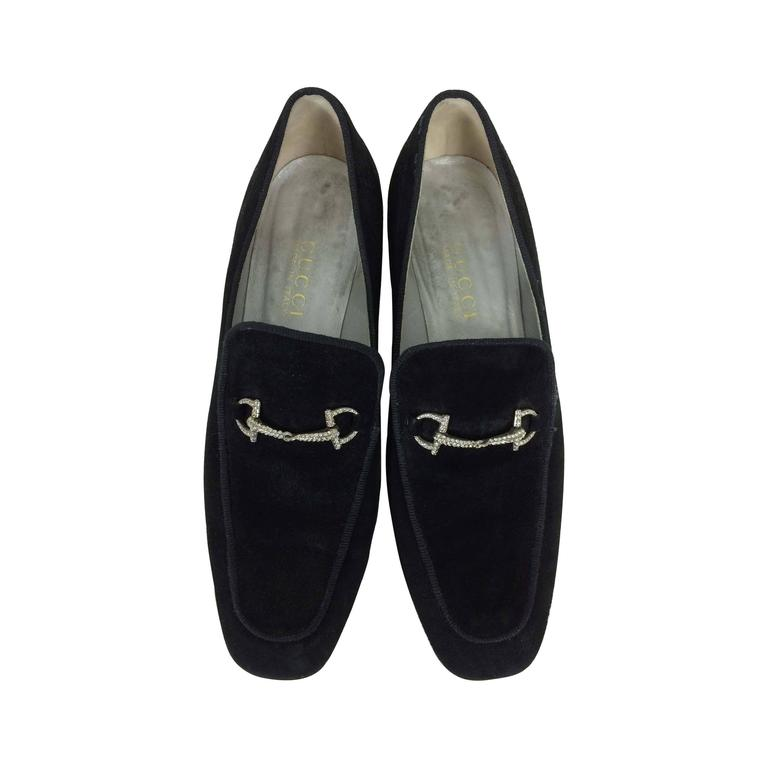 Gucci chunky black suede rhinestone bit loafers 38 1/2 C 1