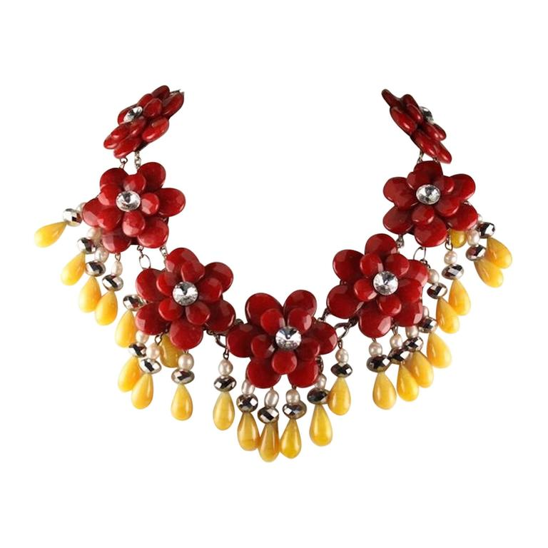 Francoise Montague Red and Yellow Agate Floral Motif Necklace 1