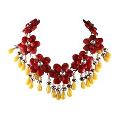 Francoise Montague Red and Yellow Agate Floral Motif Necklace