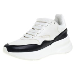 Alexander McQueen White/Black Leather And Mesh Oversized Runner Low Top Sneakers