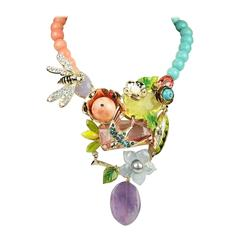 Philippe Ferrandis Coral, Turquoise, and Amethyst Necklace