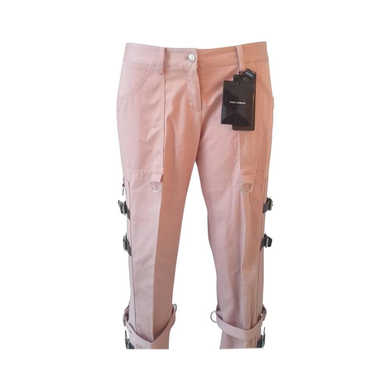 2000s Dolce & Gabbana pink pants with straps NWOT For Sale