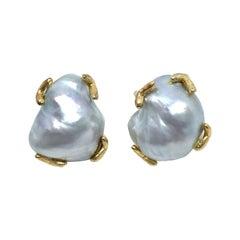 Stunning pair of 18mm Australian South Sea Baroque Pearl Vermeil Earrings