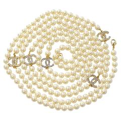 Vintage Chanel 5CC Pearl Necklace with Rhinestones