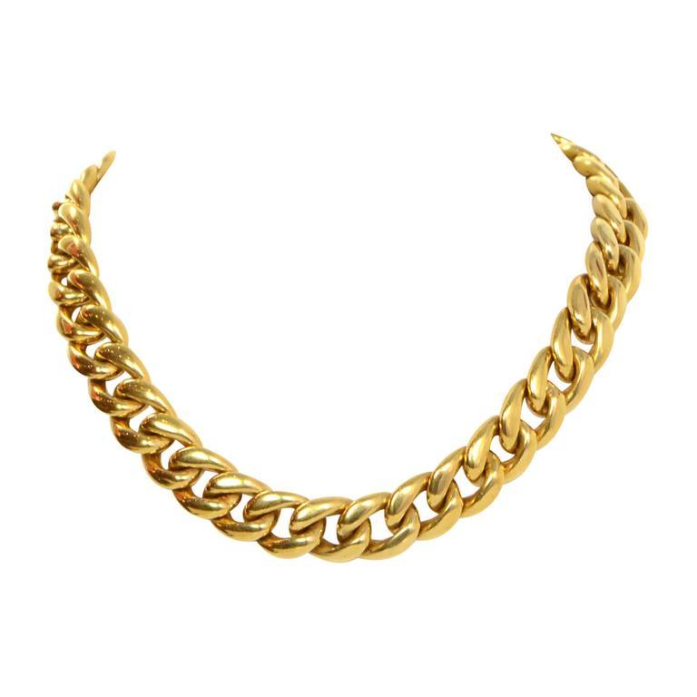 Celine Gold Curb Chain Link Choker Necklace sz M 1