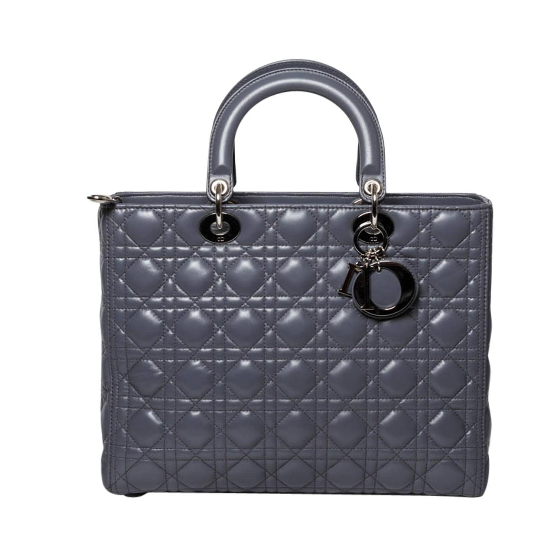 christian dior large lady dior bag in gris at 1stdibs. Black Bedroom Furniture Sets. Home Design Ideas