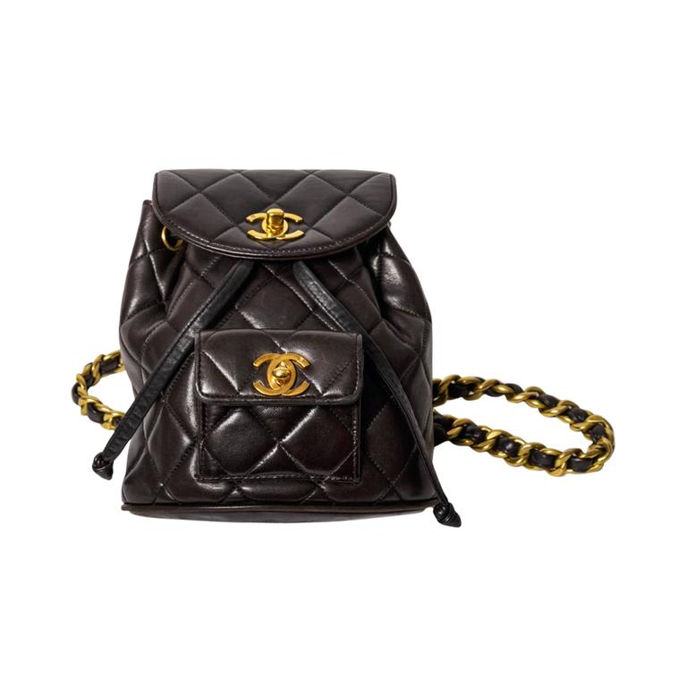 cd4cdb2a8acb Chanel Vintage Black Quilted Lambskin Leather Mini Backpack Bag At