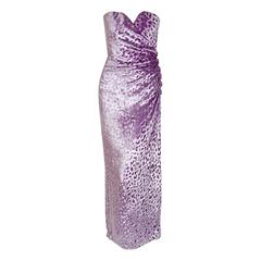 1990 Givenchy Haute-Couture Lavender Leopard Print Silk-Velvet Strapless Gown