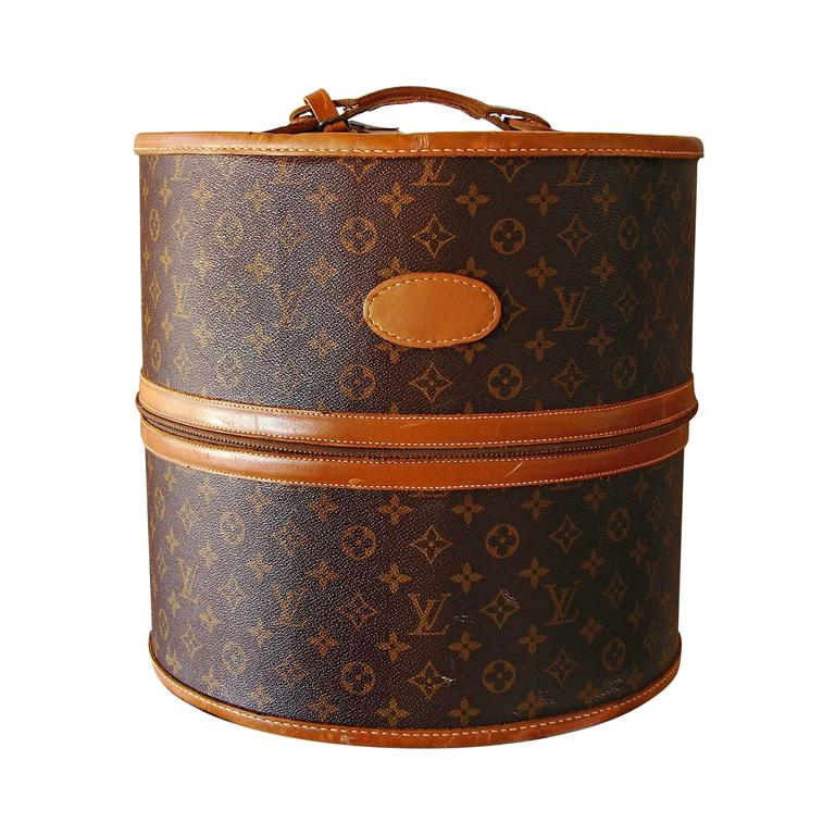 louis vuitton monogram large hat or wig box by the french company 1970s at 1stdibs