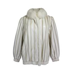 1980s Cream Snakeskin and Fur Knit Jacket