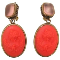 Extasia Coral Glass Cameo Earrings