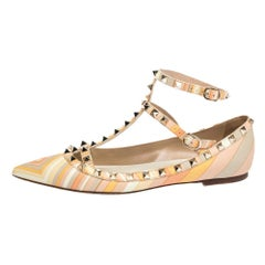Valentino Multicolor Native Couture Leather Pointed ToeBallet Flats Size 39.5
